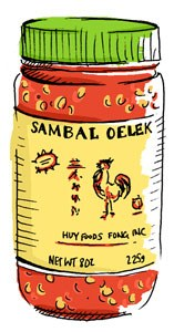 sambal oelek hot sauce illustraion