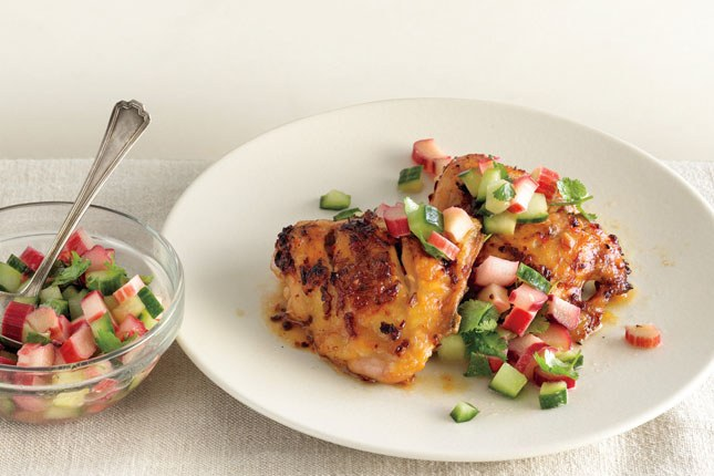 Pedas Chicken Thighs with Rhubarb-Cucumber Salsa