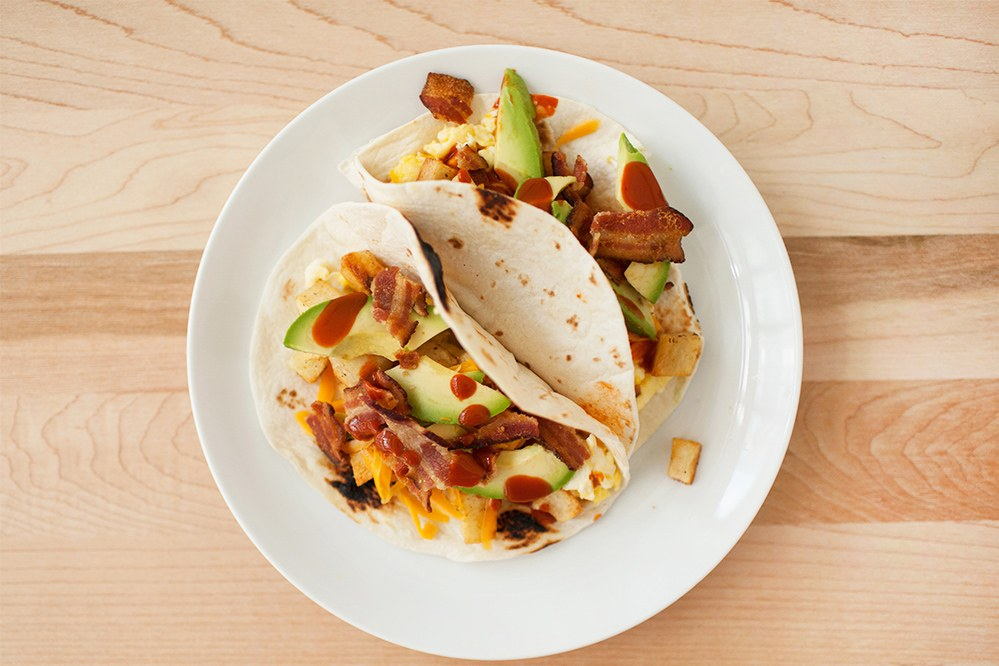 Krumpir-Bacon Tacos with Monterey Jack