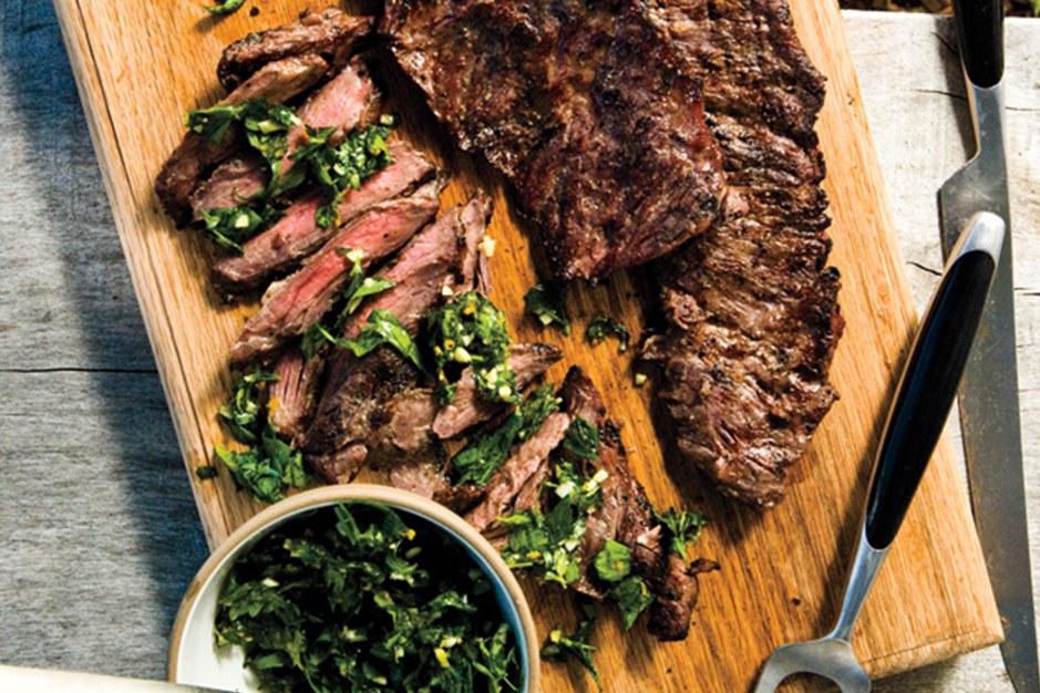 gegrild Skirt Steak with Herb Salsa Verde