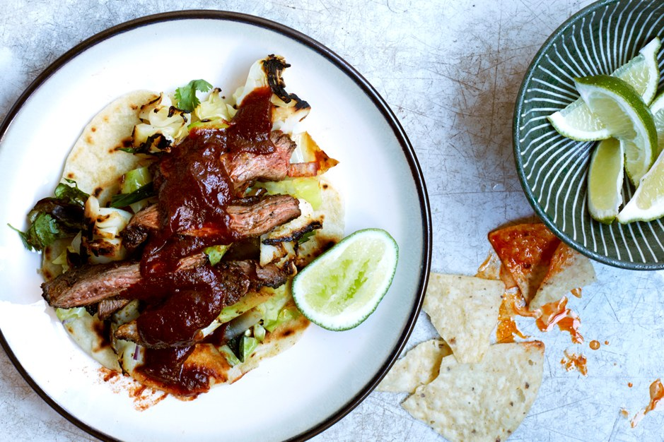 Rok Steak Fajitas with Grilled Cabbage and Scallions