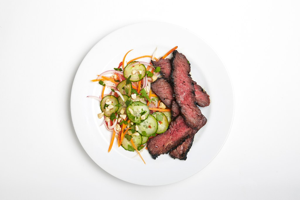 gegrild Hanger Steak with Cucumber Salad