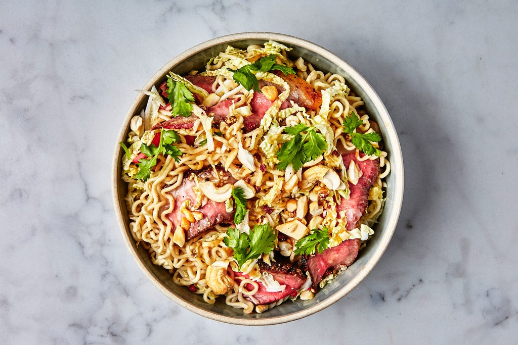 Ramen with Steak and Sesame-Ginger Dressing