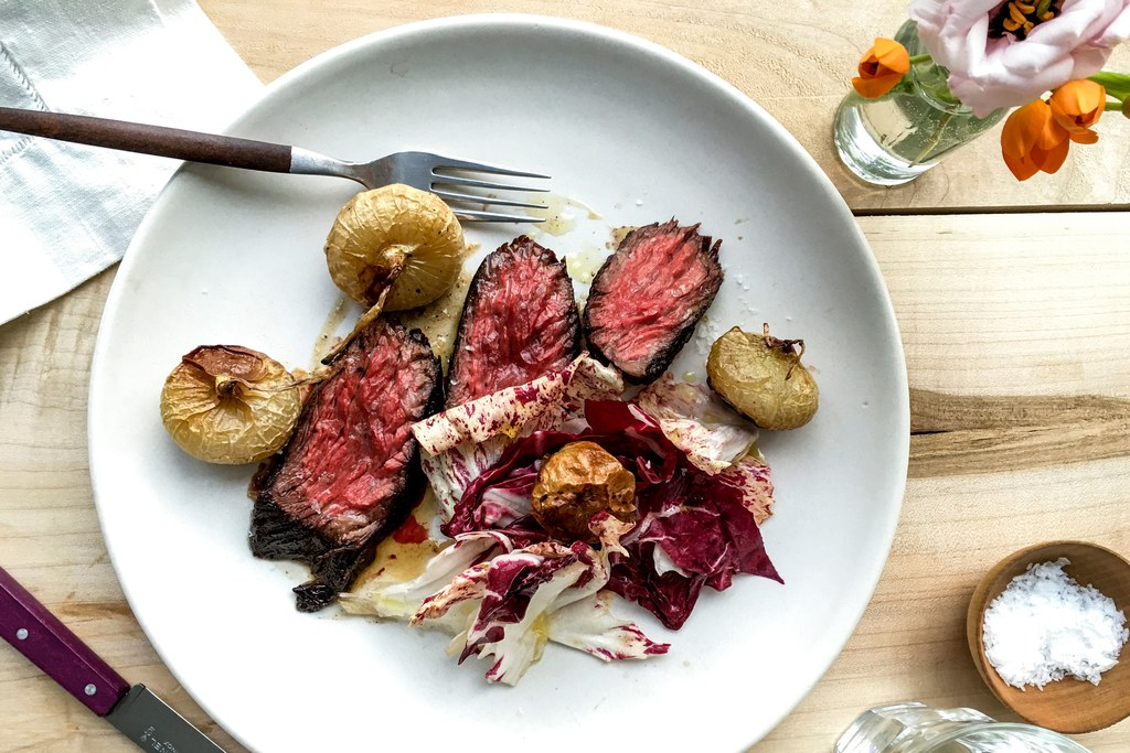 Seared Steak with Cipolline Onions and Radicchio