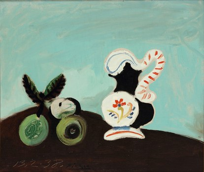 سريالي food picasso nature morte fruits et pot