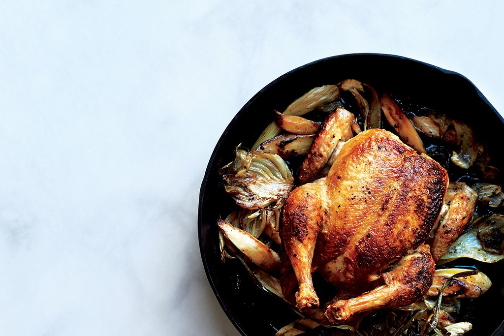 Koekepan Roast Chicken with Fennel, Parsnips, and Scallions