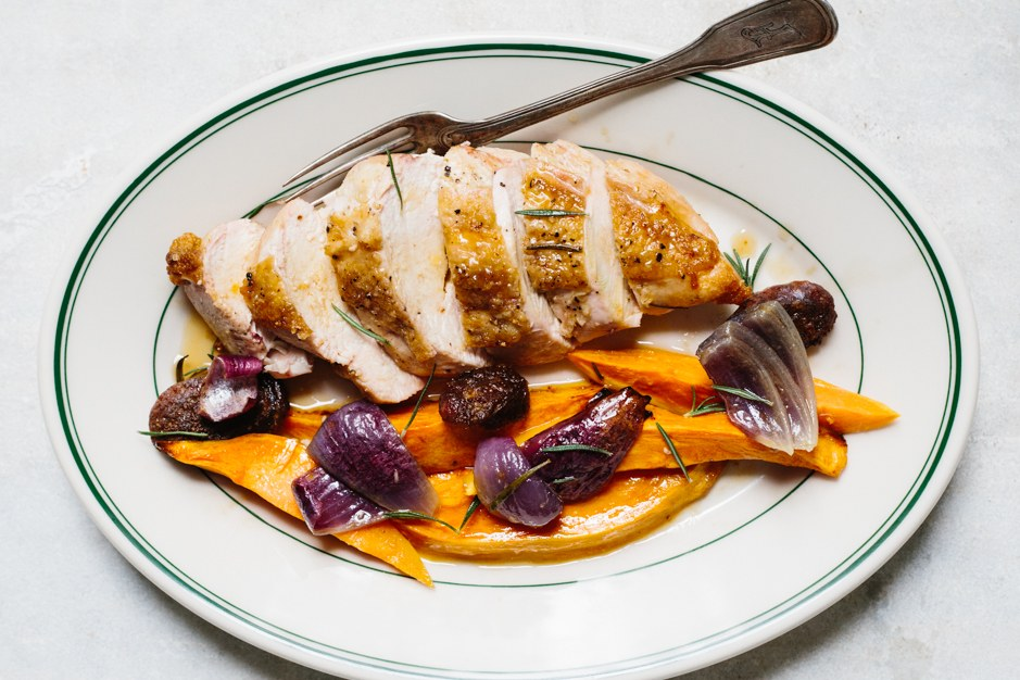 Skrudinta Chicken with Chorizo and Sweet Potatoes