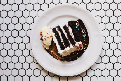 Tko cares if it's not your birthday? A slice of sprinkle-topped cake makes any meal here feel like a celebration