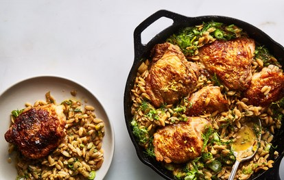 vienas skillet chicken with buttery orzo