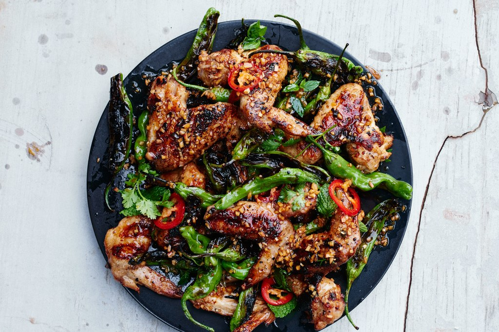 Panggang Chicken Wings with Shishito Peppers and Herbs