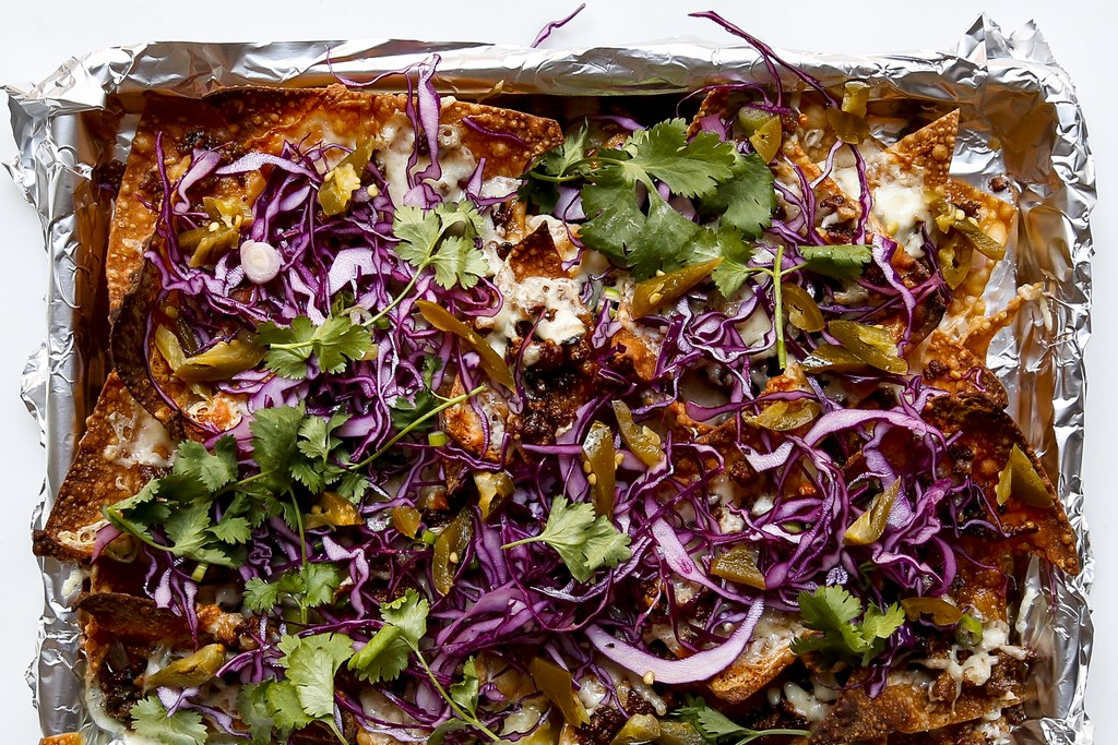Gaya Asia Pork Nachos with Red Cabbage and Scallions