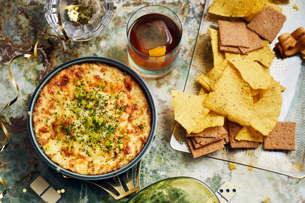 Al forno Three-Cheese Onion Dip with Chive and Peperoncini