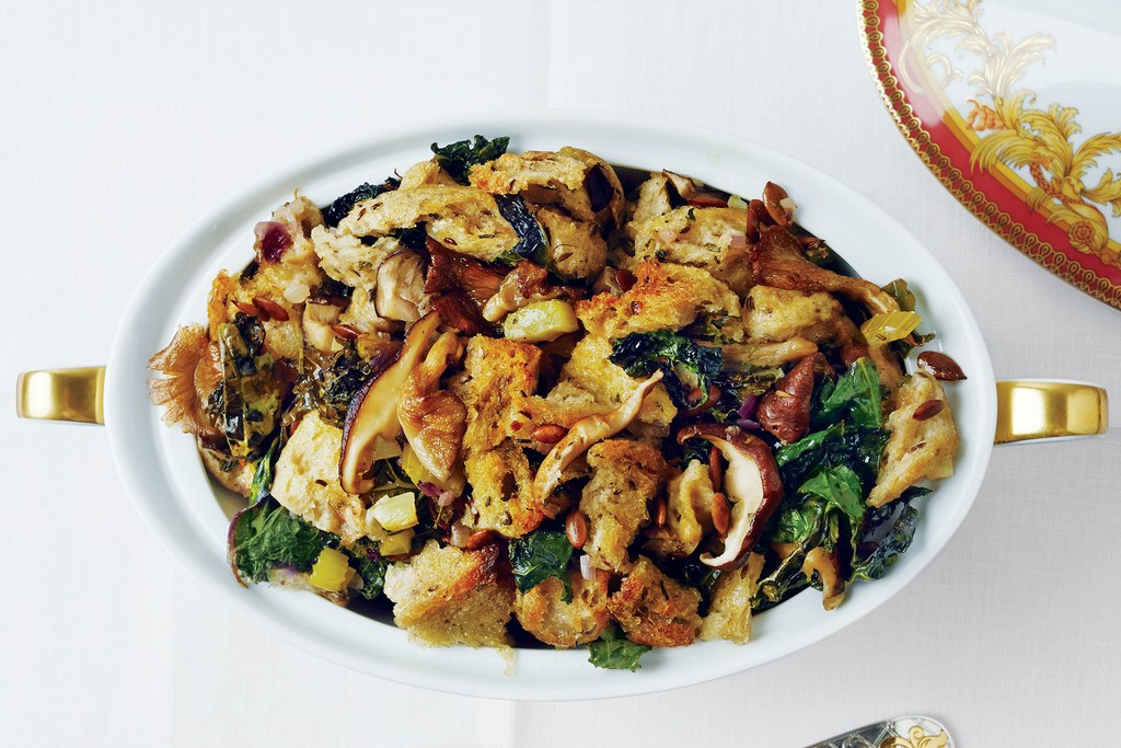 Rugiai Kale, Mushroom, and Pumpkin Seed Stuffing
