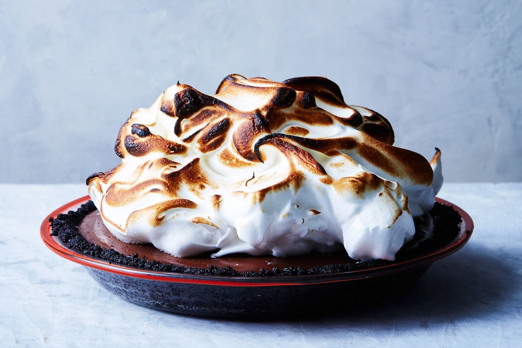 No-Bake Chocolate Cream Pie with Toasted Meringue