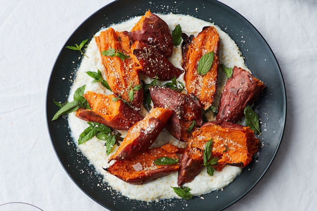 Skrudinta Sweet Potatoes with Chile Yogurt and Mint